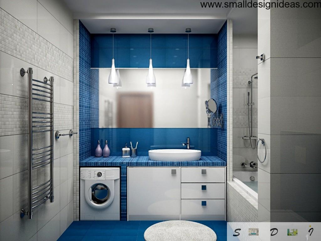 Small bathroom contamporary modern style in blue coloration