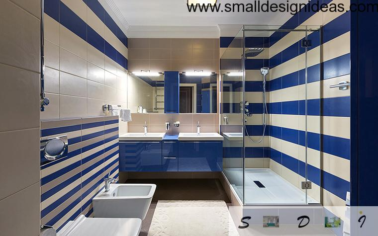 Striped design of small bathroom