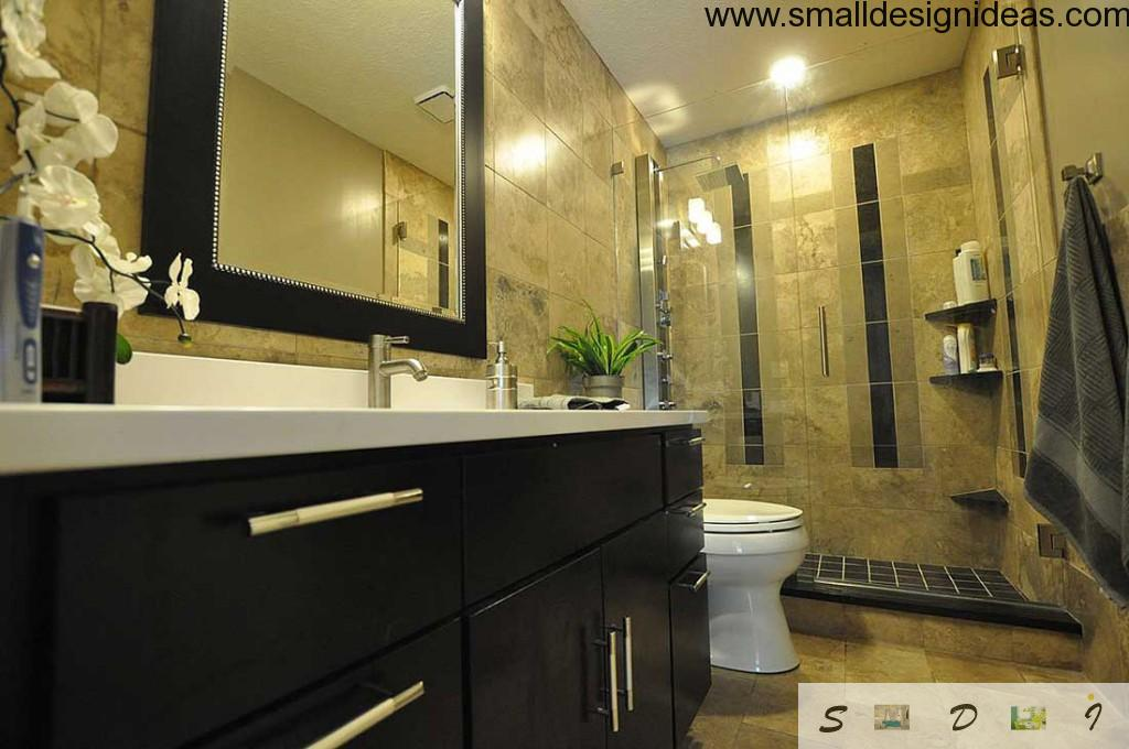 Built-in furniture in the small bathroom lets you to increase the space
