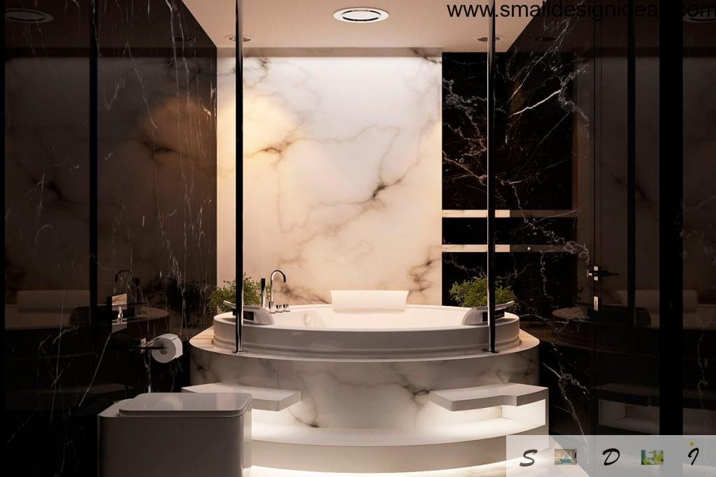 Dark luxury marble bath