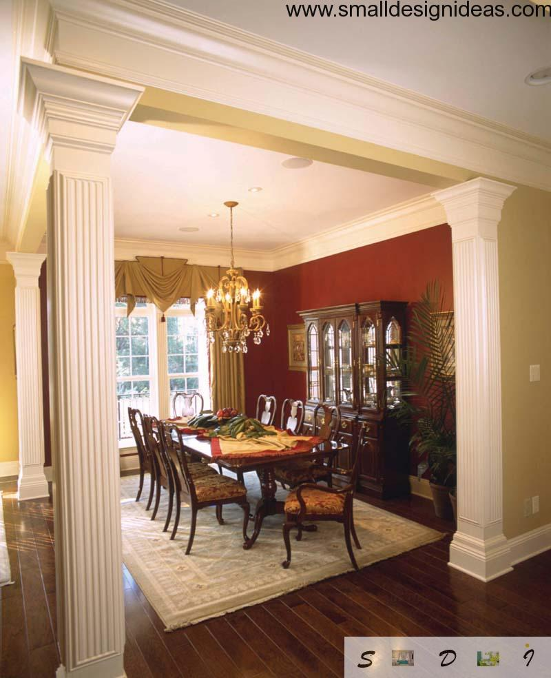 Columns of gypsum as a functional and decorative part of Modern dining room