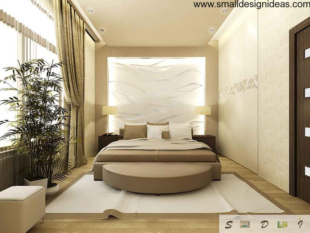 Beige tones in bedroom interior