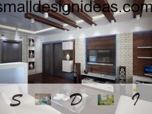 wooden decoration and leather furniture in interior 2015