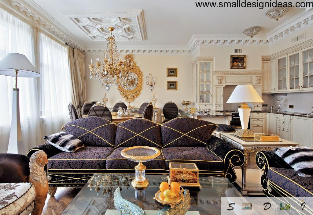 Eclectism in the ;ounge room interior of gold tones and classic furnishing