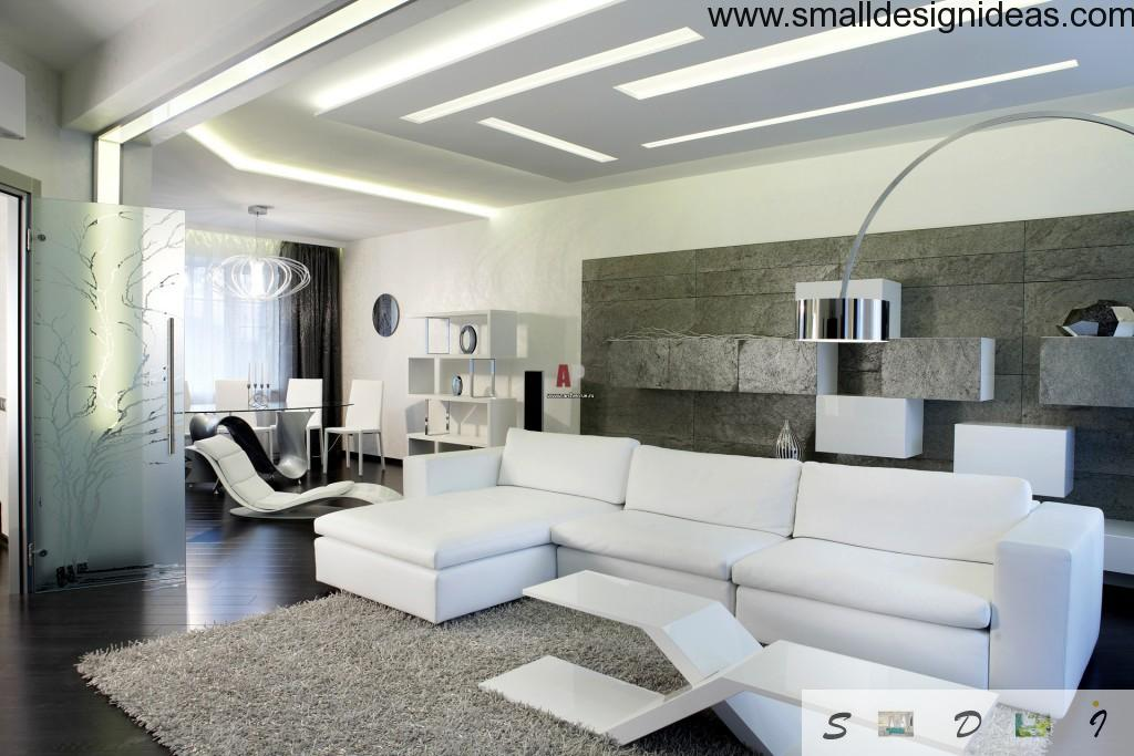 Minimalistic design of roomy lounge in a white color