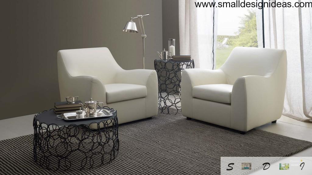 Metal coffee tables in living room
