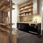bar stand in a studio apartment`s kitchen