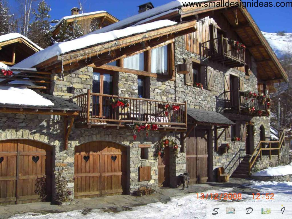 Chalet design style in the facade exterior finishing