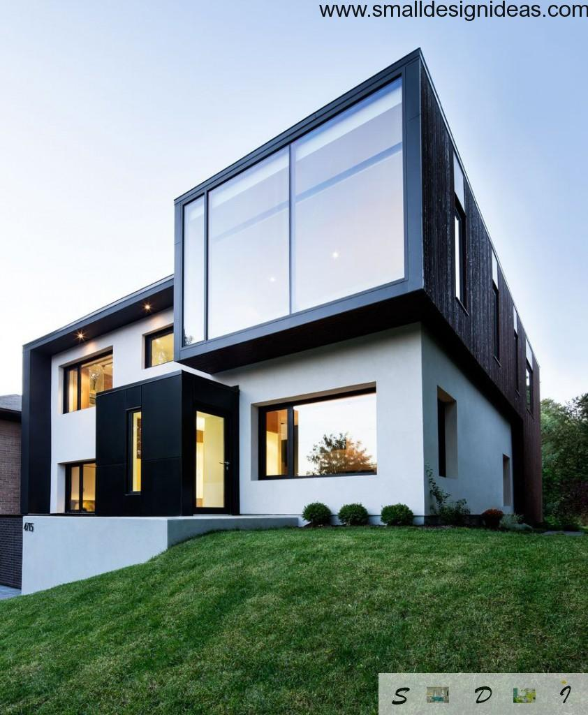 White and dark mix of facade colors in minimalstic high-tech style