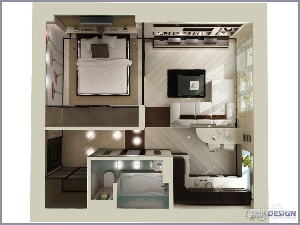 Small studio apartment interior design for 9x11 room design