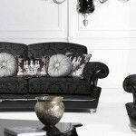 Black textile and wooden furniture in dark tones