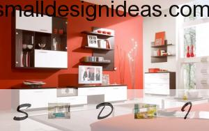 Shelves and red interior background