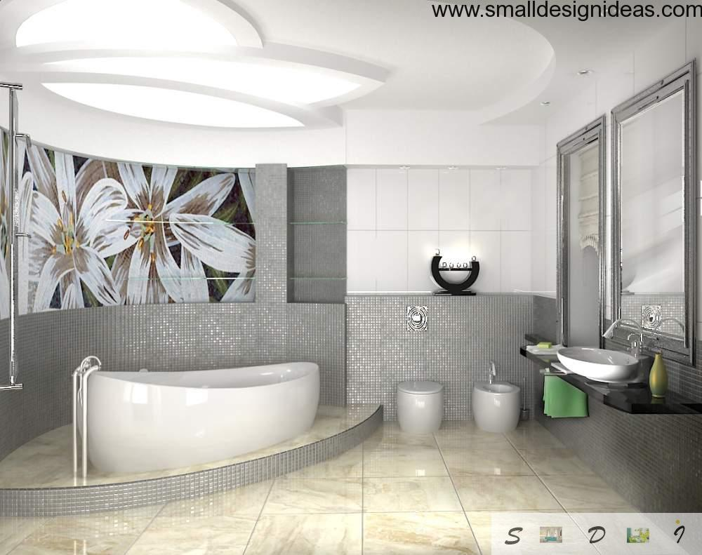 White ones in the modern bath interiors