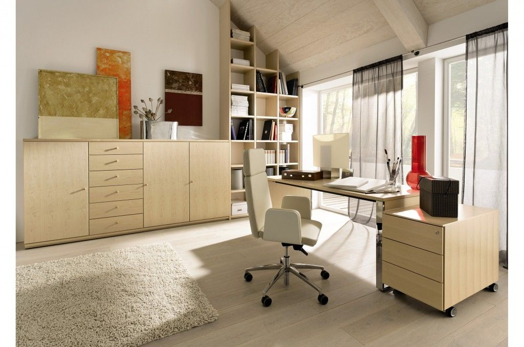 Home Office Design Ideas with light wooden furniture and pictures