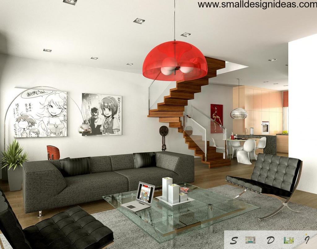 Glass tables in a studio apartment