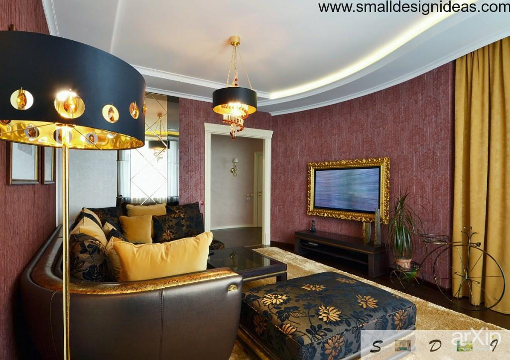 Classic lounge design in burgundy colors