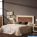 Nice hi-tech bed with wooden facing