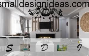 Bio fireplace as a decor element in black&white interior