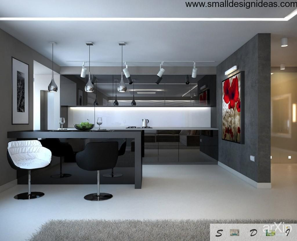 Modern minimalistic interior design in a large kitchen and dining room