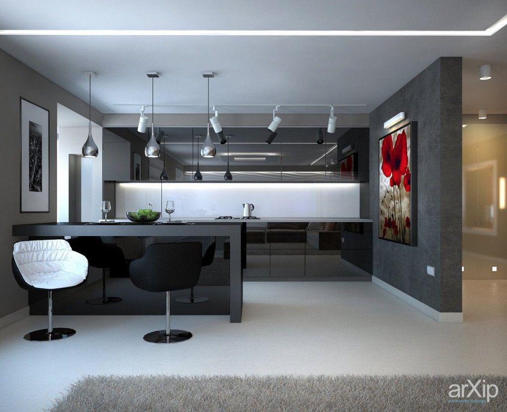 Kitchen studio and dining room design all in one - Hi tech style interior design ...