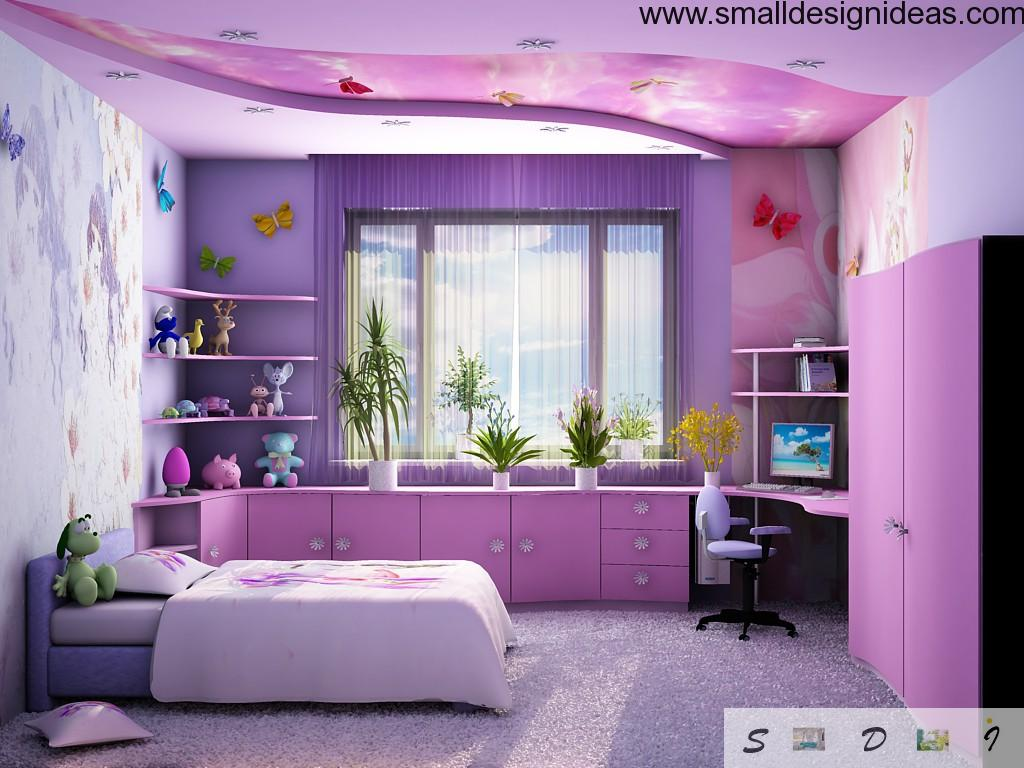 Purple modern design of the bedroom