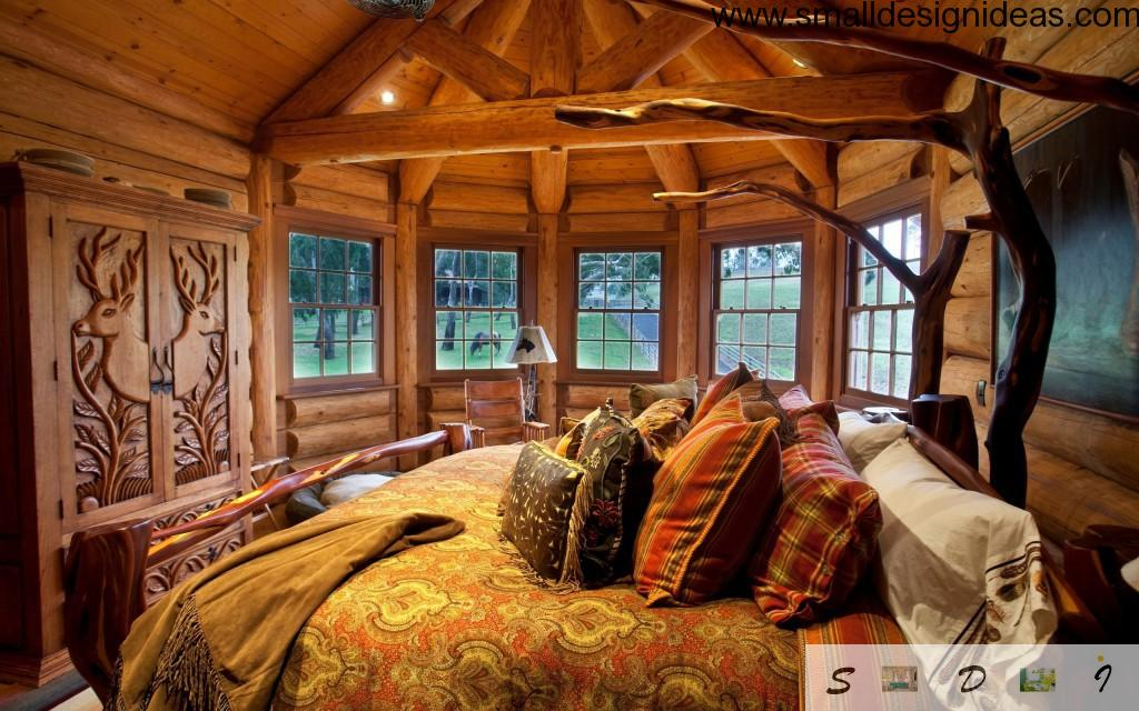 Little round wooden bedroom interior design