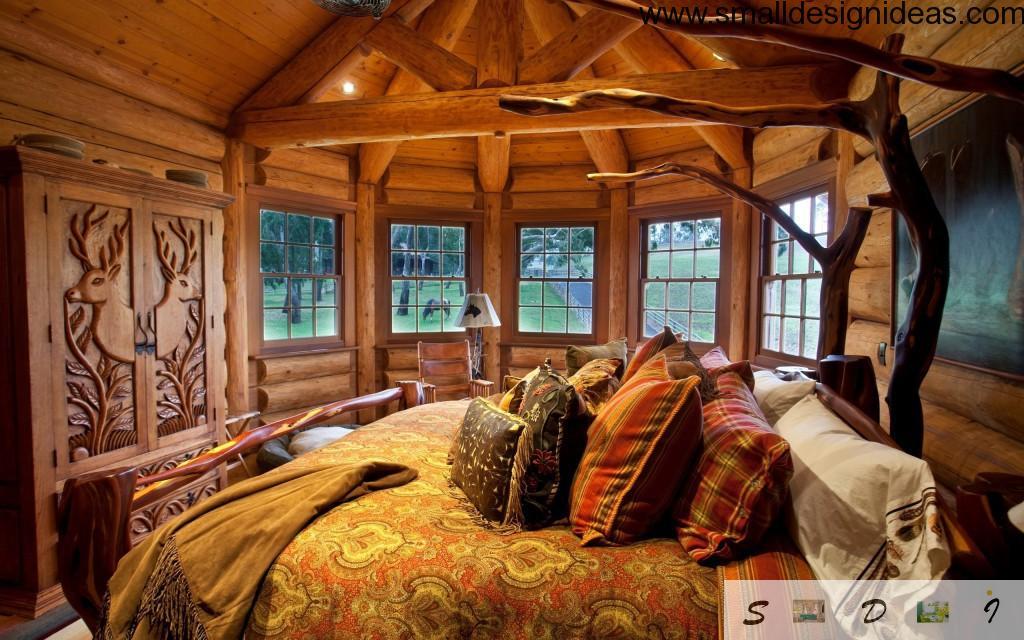 Little round wooden bedroom interior design