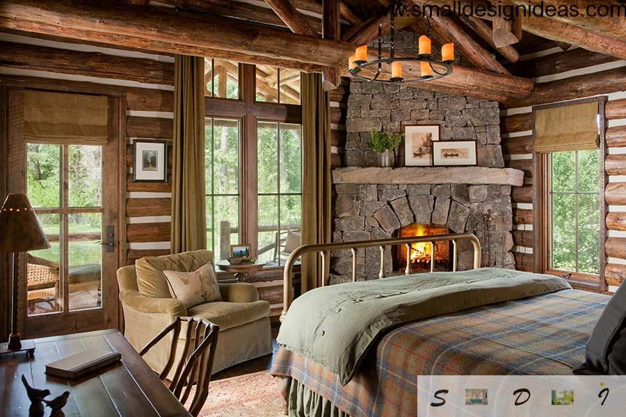 Cool warm hearth in cottage bedroom