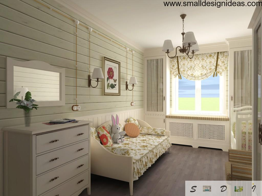 Classic American rural country-bedroom of white wood tones