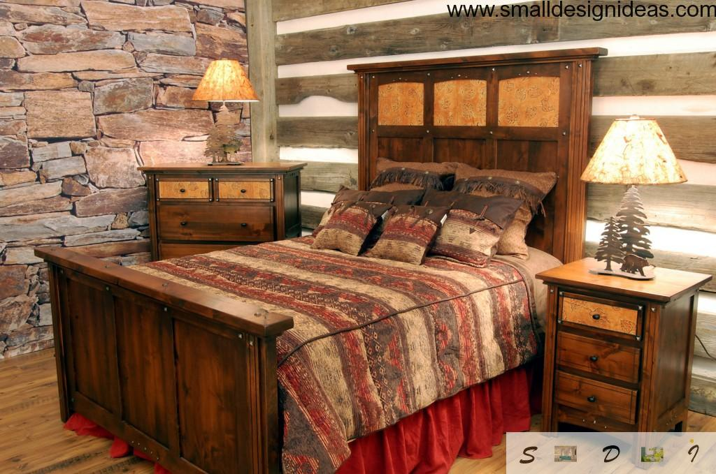 Unusual nice wooden rustic interior bedroom design with the lamps in form of fir-tree
