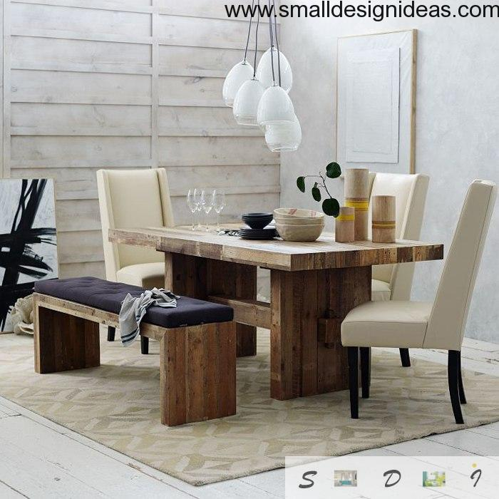 Wooden harsh furniture perfectly fits white Modern dining room
