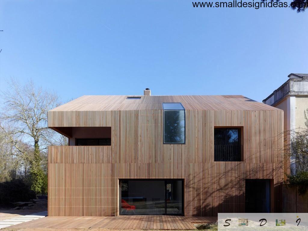 Modern wooden minimalistic facade design idea