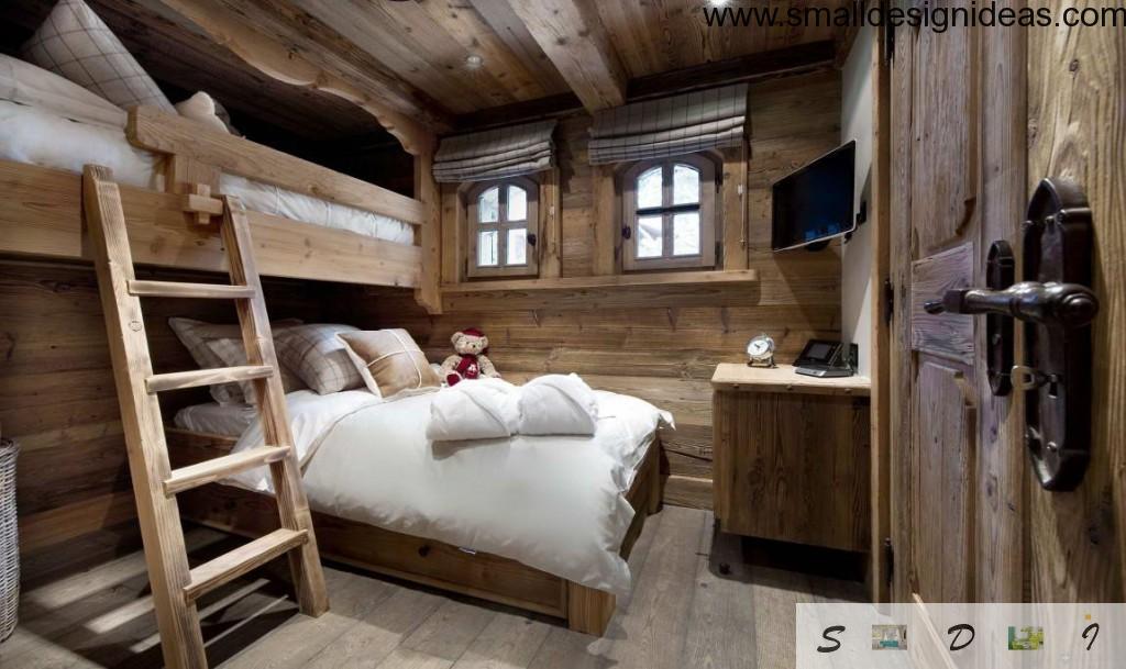 Bunk bed of wood in the rustic bedroom