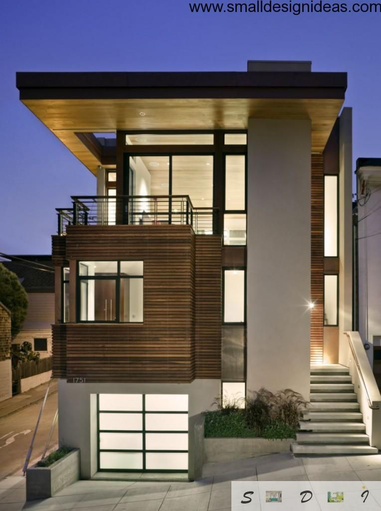 High-tech, rustic and minimalistic combination in the house`s facade