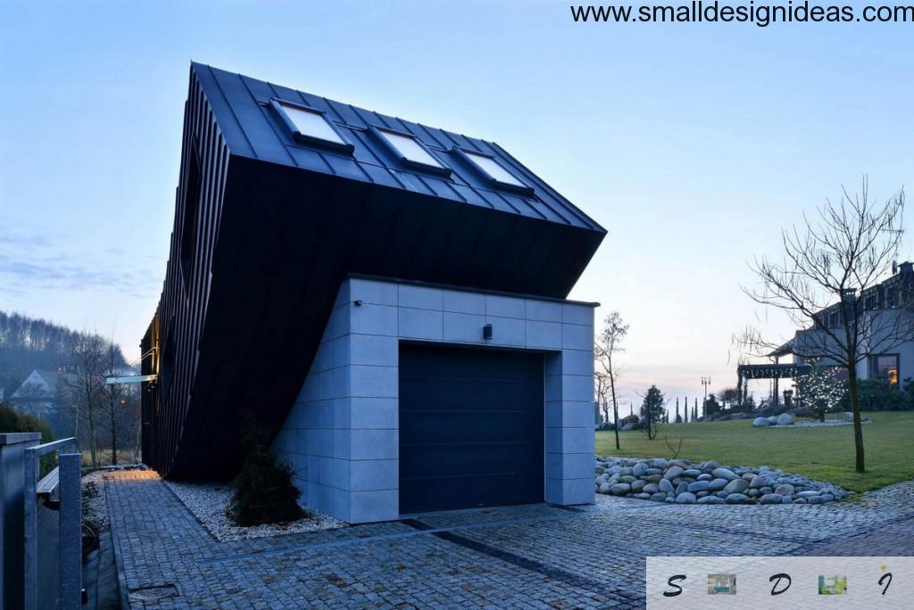 Polish unusual taking off contorted house facade