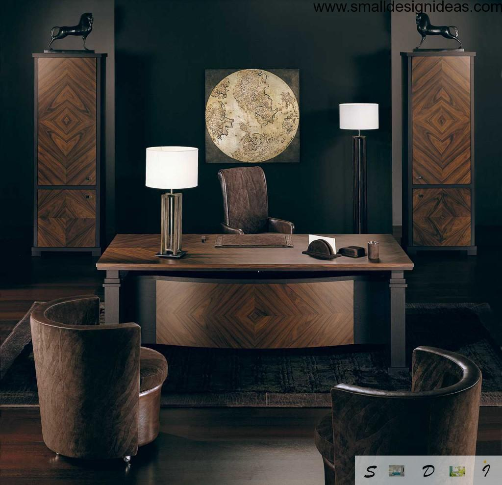 Desk Lamp in the dark wooden creative home office