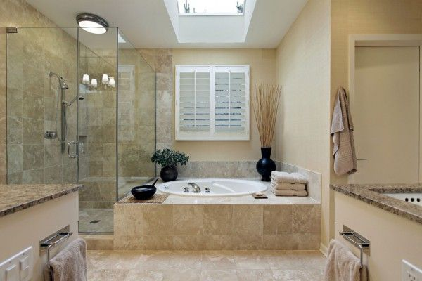 Glass shower cabine in modern interior design