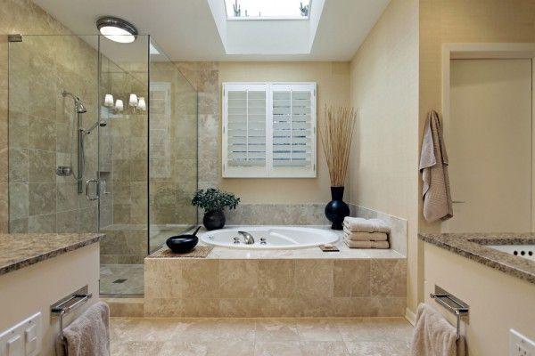 Glass shower cabine in modern interior design