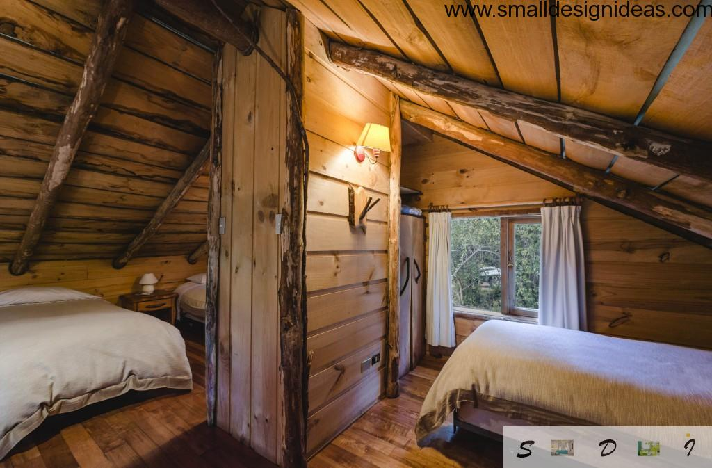 Bevel of wooden roof bedroom with bed