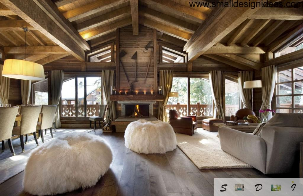 Wooden beams in eco style design of the ceiling