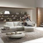 Grey interior design with unusual furniture shapes