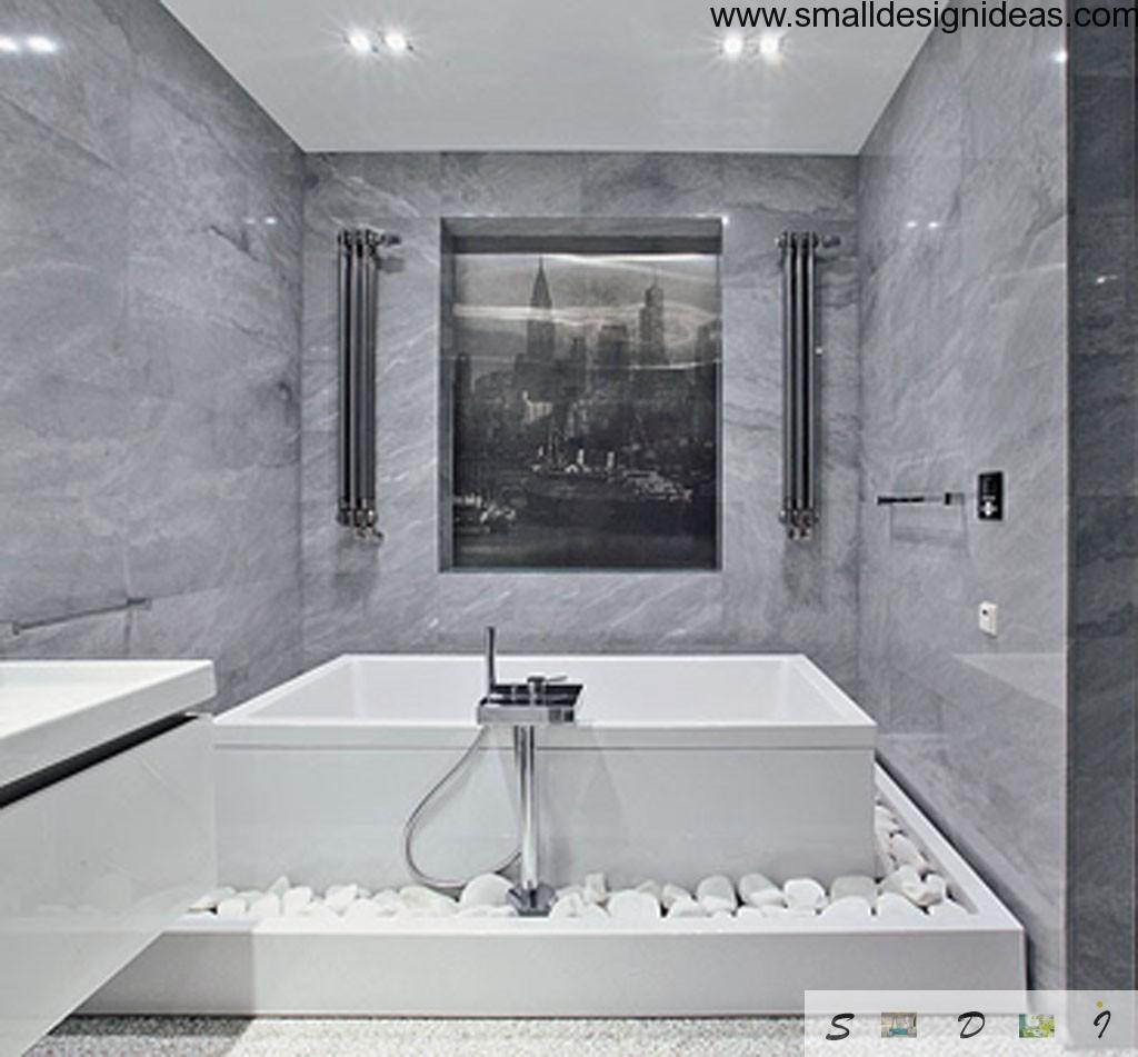 Bath with poium looks luxurious and trendy