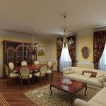 Nice textured drapes and rugs emphasize the Art Nouveau in interior
