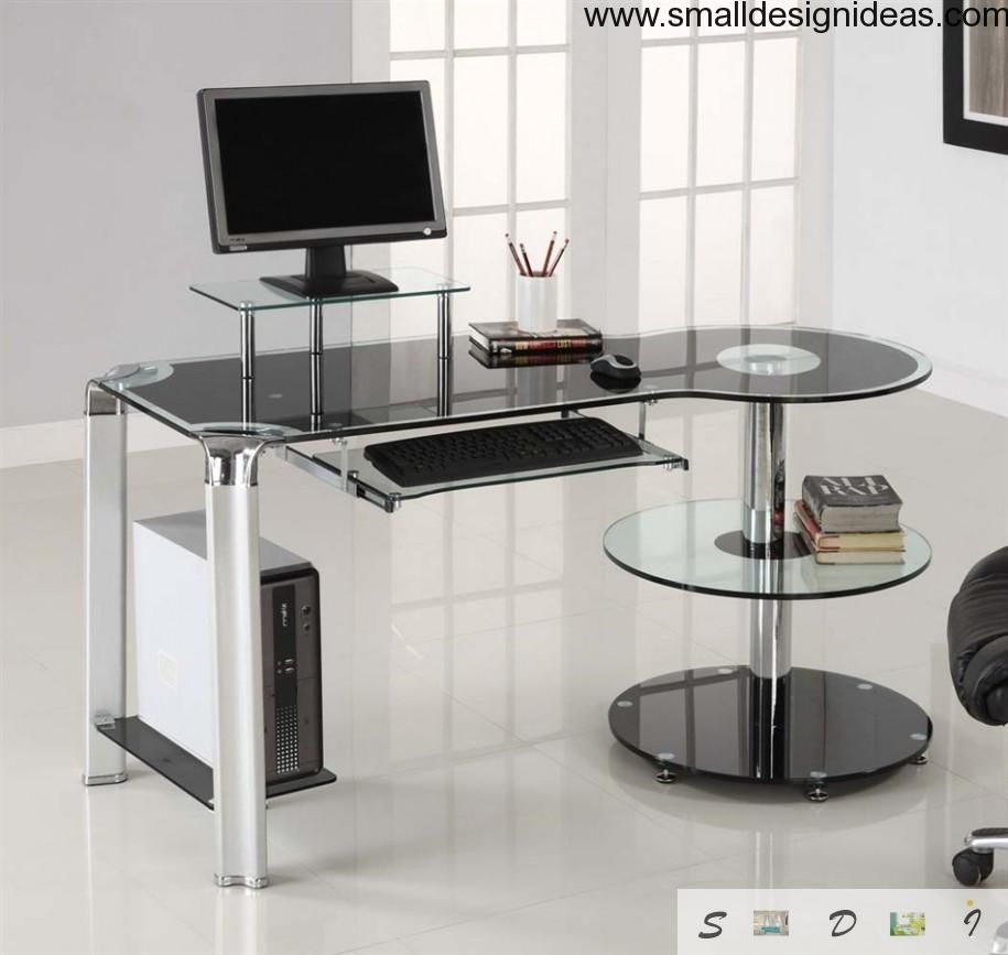 Fashionable glass computer table at the dining room
