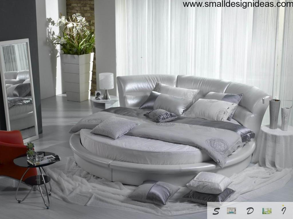 Round bed in the living room interior