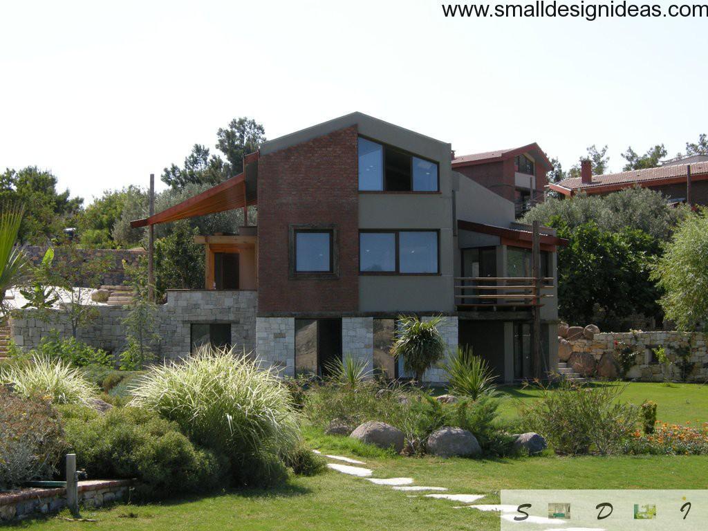 Different styles of facade design of village luxury three-storey house