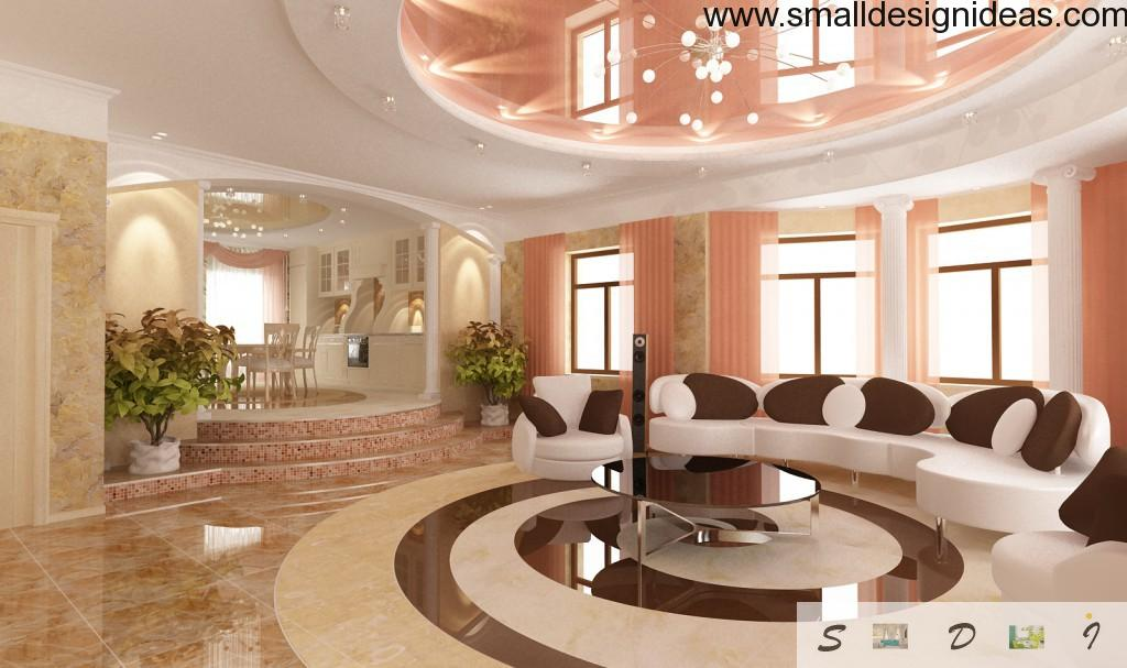 Luxurious marble flooring in thw spacious royal dining room