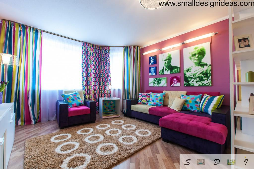 Bright interior with creative photos in the living room