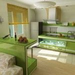 small studio with green kitchen