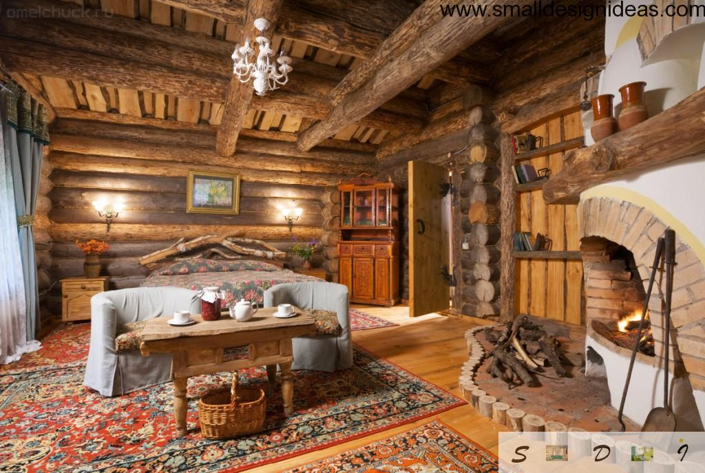 Bold Country style Bedroom Design in completely wooden execution